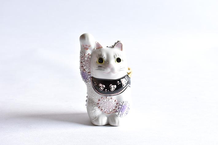 九谷焼 招き猫 花むらさき