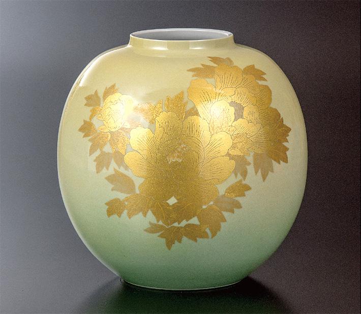 九谷焼 花瓶 釉裏金彩牡丹文 人間国宝 吉田美統