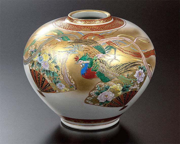 九谷焼 花瓶 本金扇面鳳凰 高明
