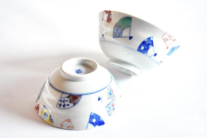 九谷焼 夫婦茶碗 染付扇文 櫻井千絵