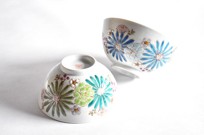 九谷焼 夫婦茶碗 華