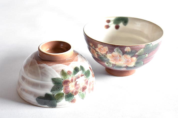 九谷焼 夫婦茶碗 海棠 青良窯